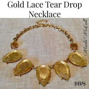 CUT CRYSTAL Lace Backed Gold Double Chain Necklace
